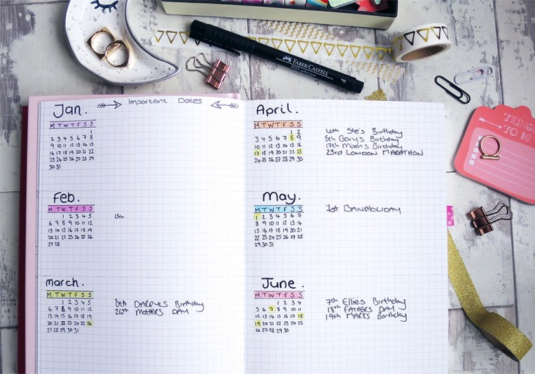 Important Dates Bullet Journal Spread