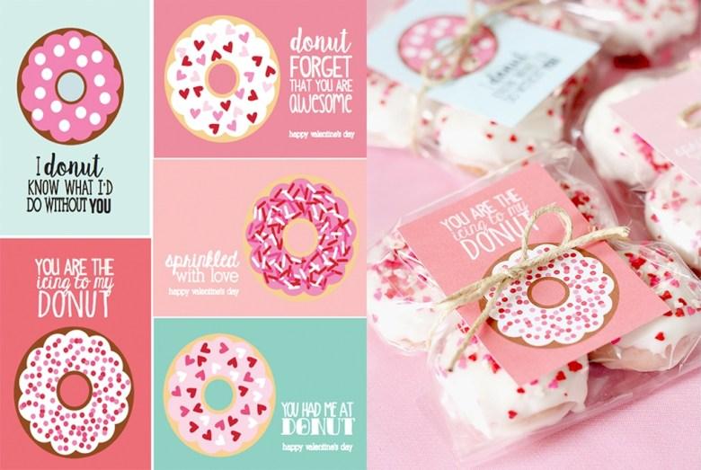 cute free donut valentines printables