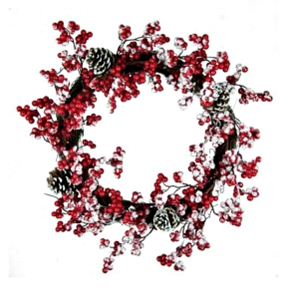 A Christmas Wreath covered in frosted red berries and pinecones