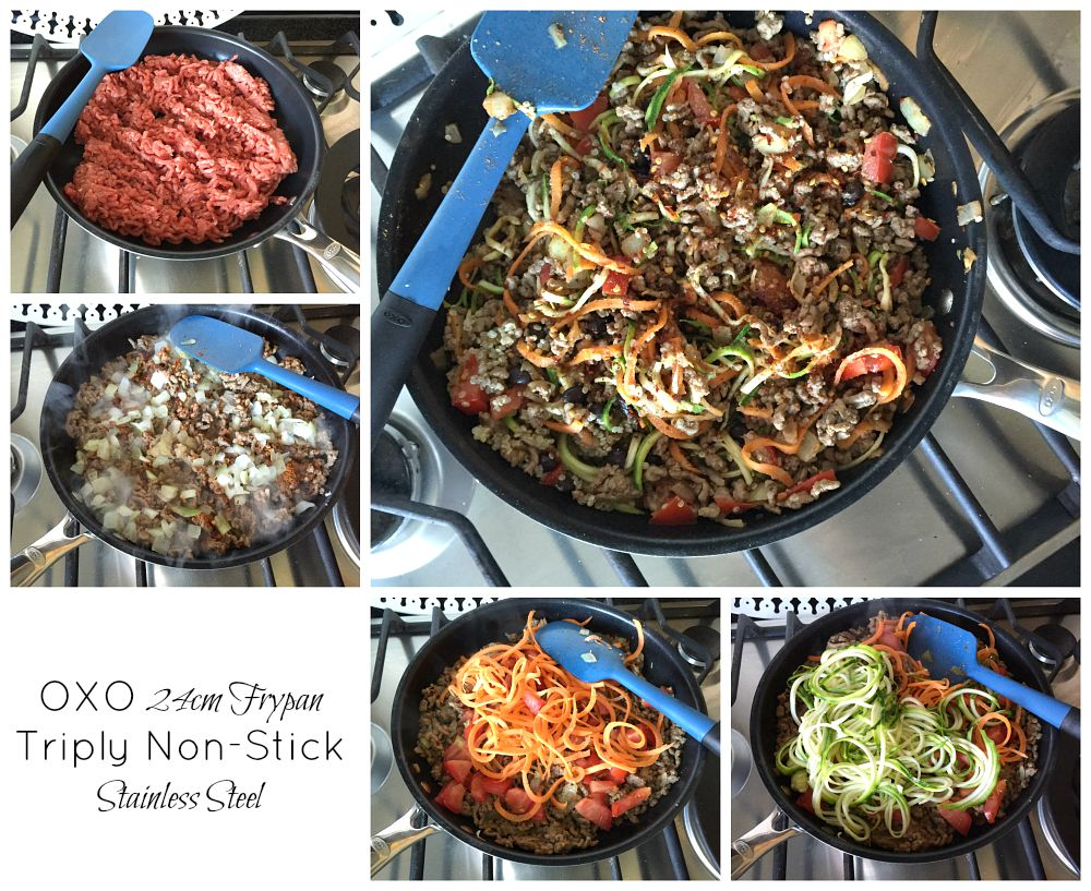 Courgette & Carrot Spaghetti Recipe healthy eating Oxo Good Grips Frypan