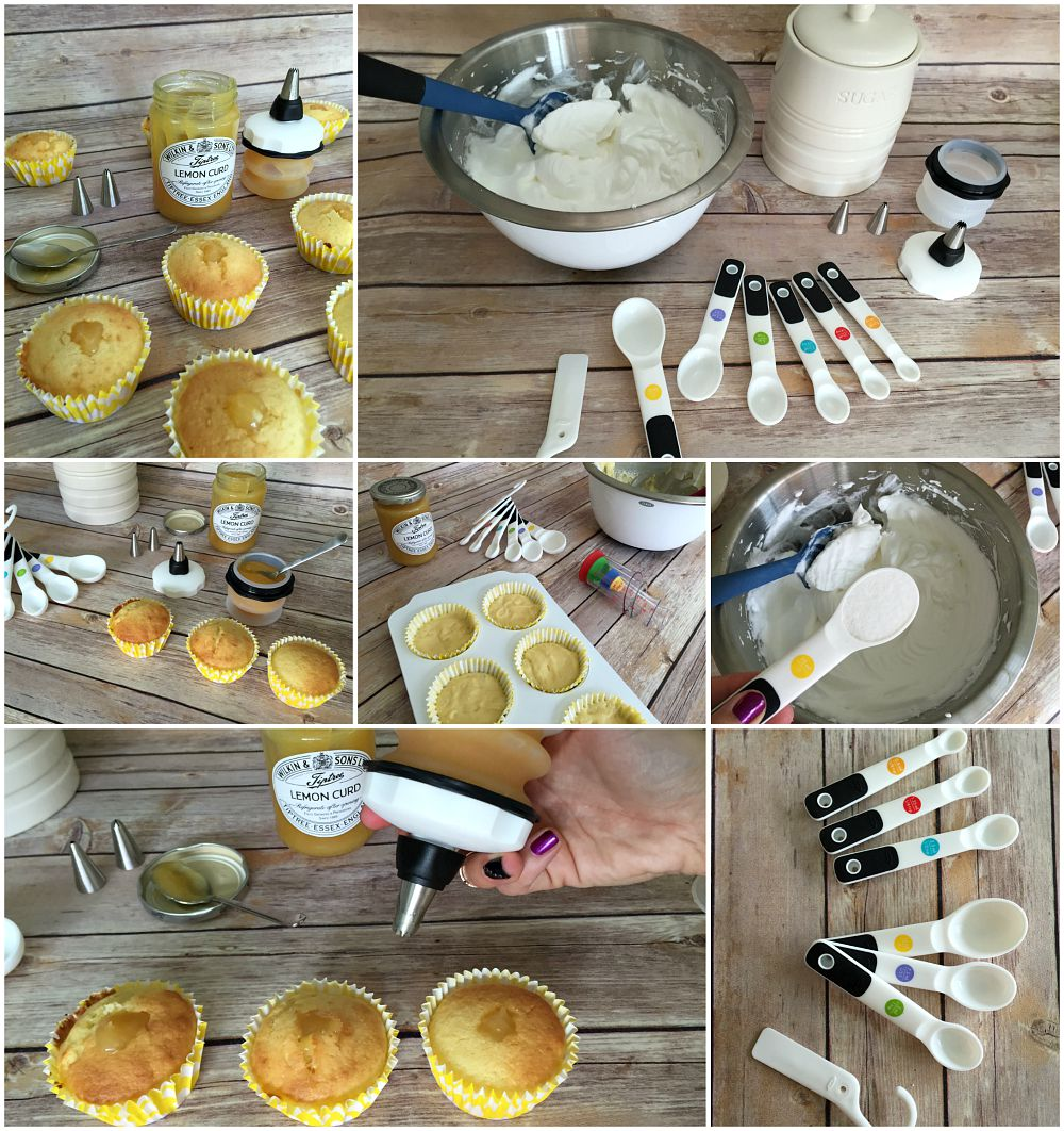 A grid of pictures showing Lemon Meringue Cupcakes being made. It coveres the process from mizing the batter to filling the cupcakes with lemon curd