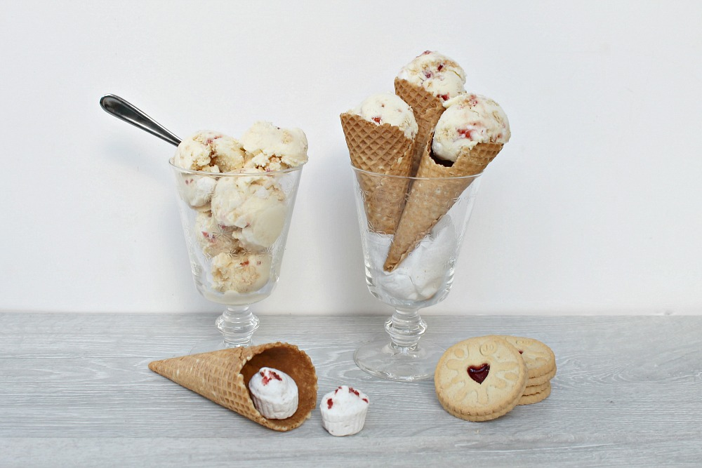 Valentine's Day Jammy Dodger Marshmallow Ice Cream Recipe easy ice cream base cookies and fluff