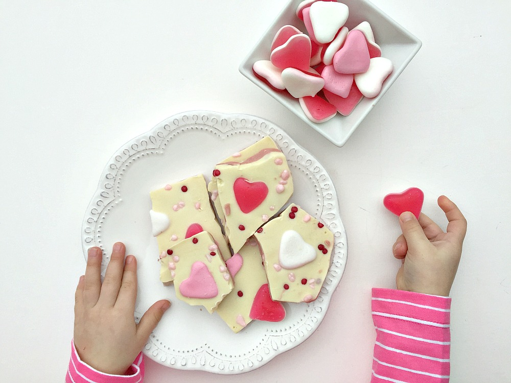 Little and Fierce Blog Valentine's Day Heart Jelly Foam Bark Recipe
