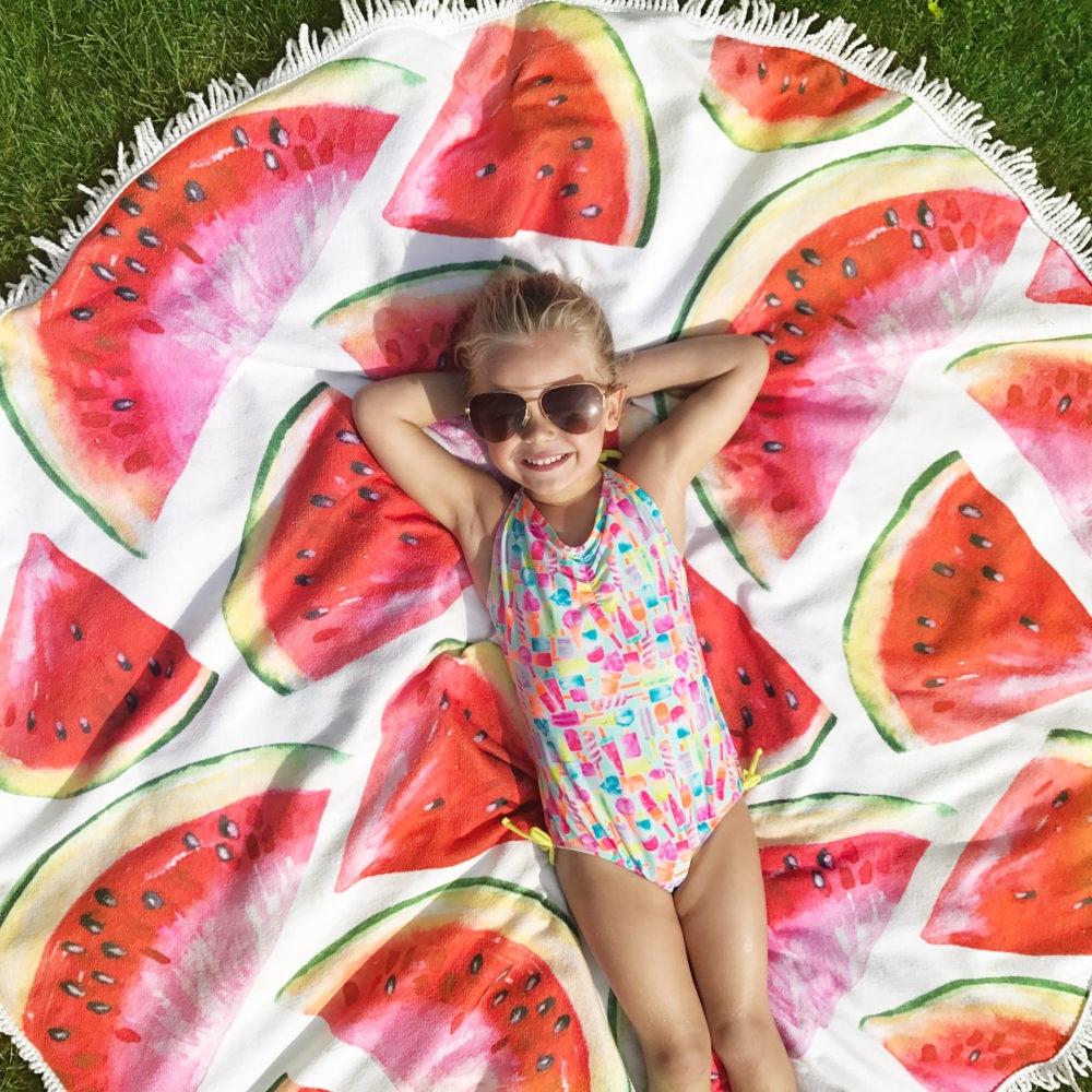 watermelon circle beach towel
