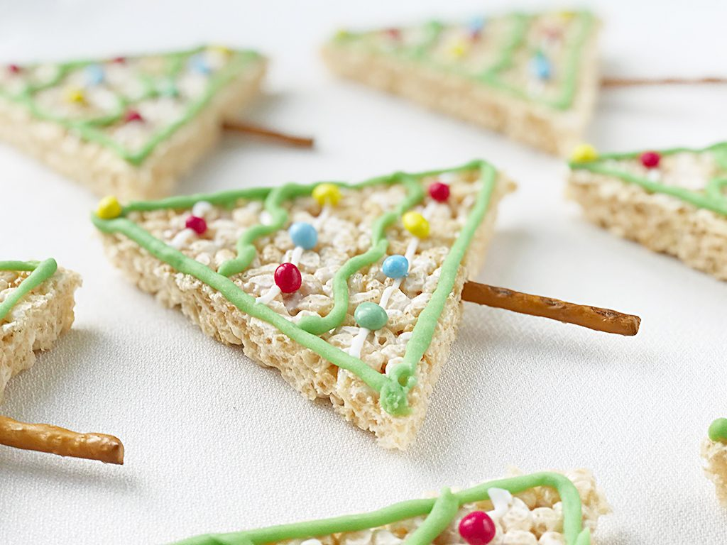 Rice Krispy Treats Christmas Trees recipe for kids
