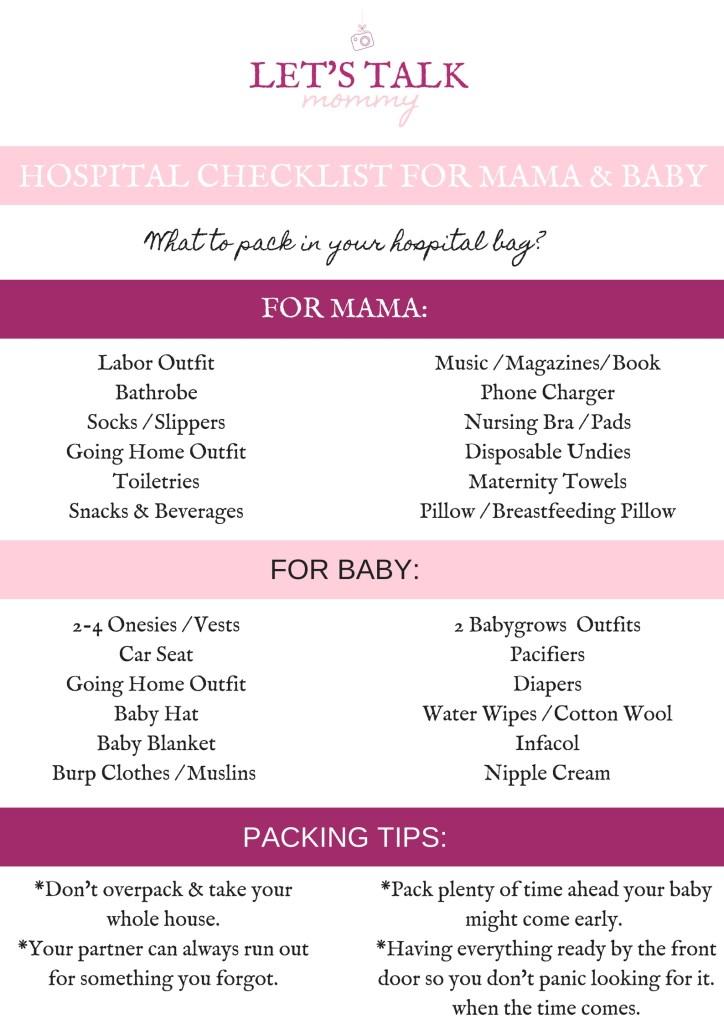 Hospital Checklist for Mama and Baby Printable