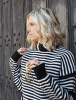 "Adding Monochrome Styles in my Wardrobe Matalan fashion Black and White Stripe Knitwear and Mustard ""dream long"" tshirt top"