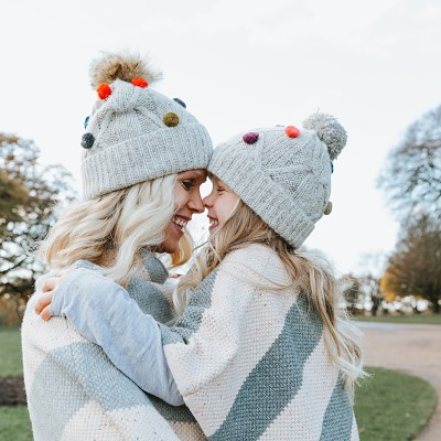 Matching Pom Pom Hats & Ponchos for Winter Fashion