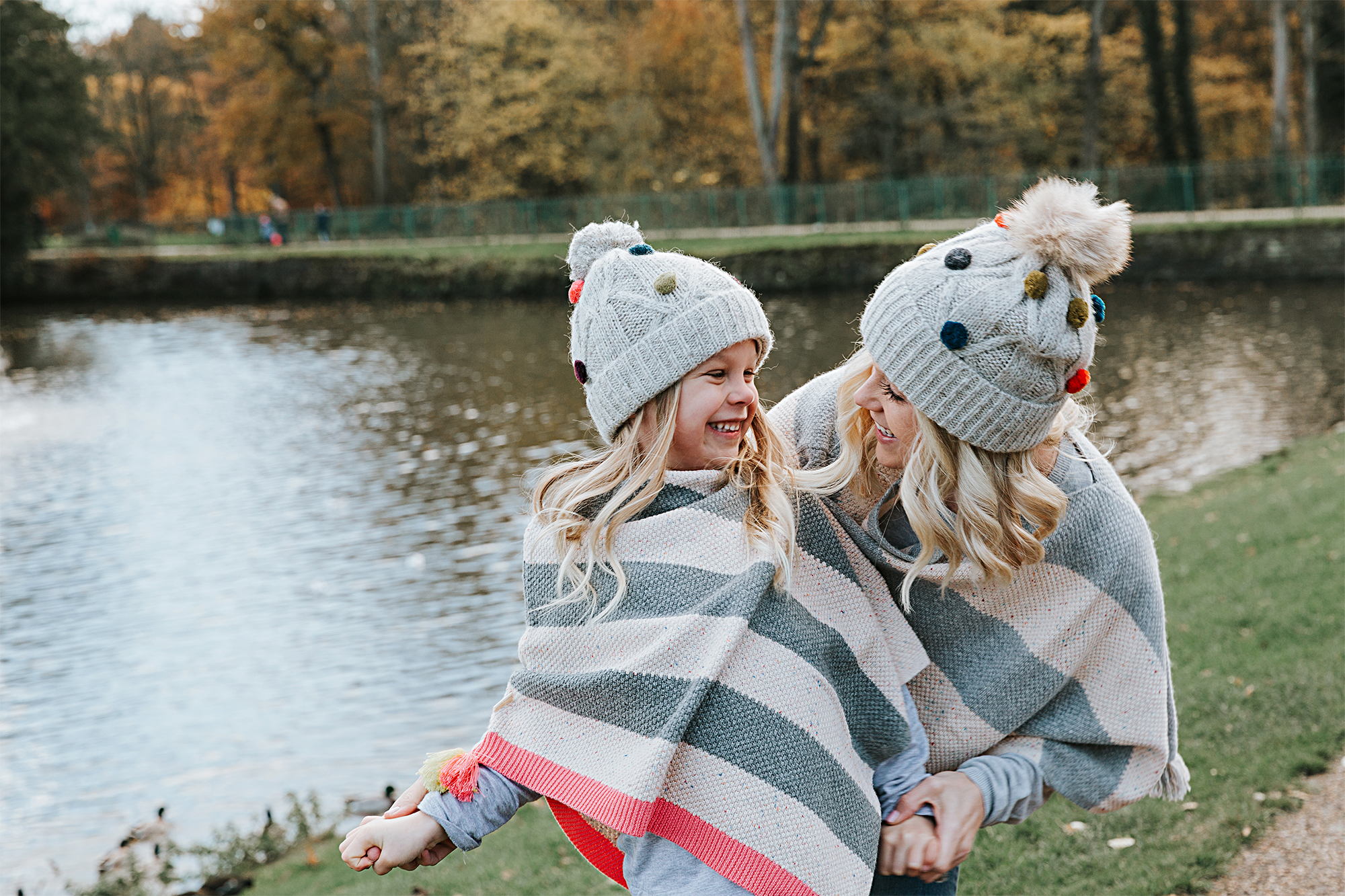 White Stuff Pom Pom Hats Bobble Hats ponchos Mummy and Me matching sets