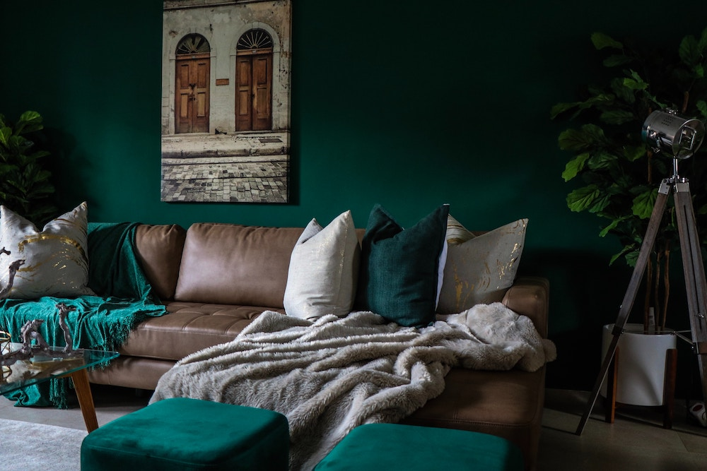 Emerald green living room interior