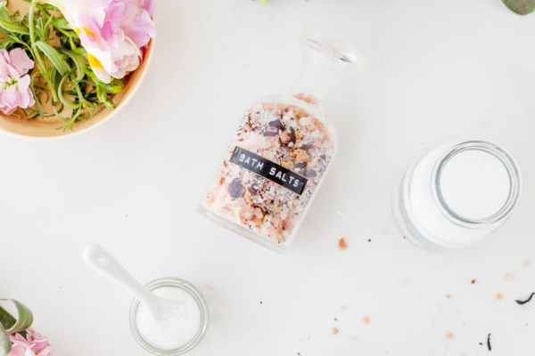 after a baby spa set of jars of bath salts composed with gentle matthiola incana flowers