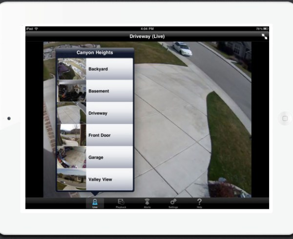 Logitech Alert live HD home video security feed screenshot