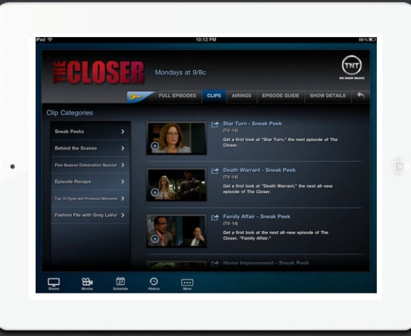 TNT app for iPad