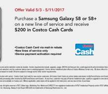 earn Costo cash cards with Samsung Galaxy S8 activation