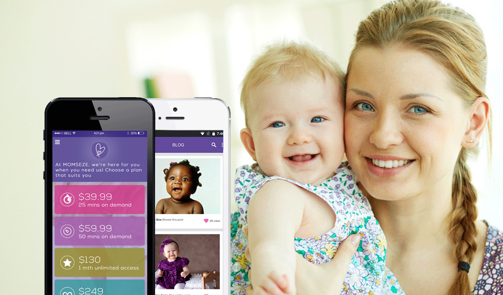 Momseze mobile app for moms with newborn babies