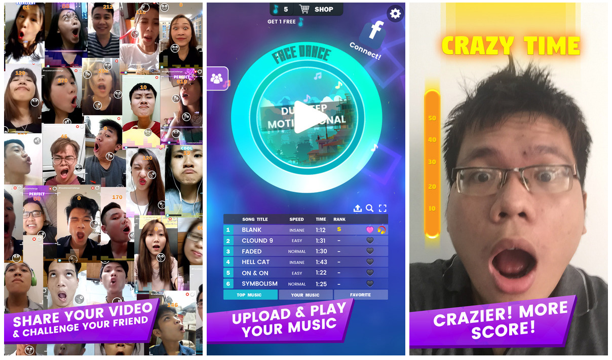 FaceDance Challenge music app for iOS