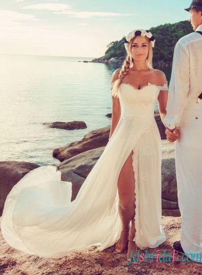 koronkowa suknia ślubna na plażę