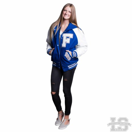 White Leather & Royal Blue Wool Varsity Letter Jacket