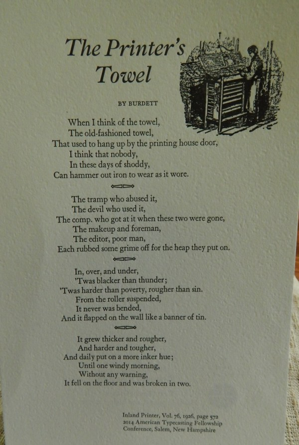 "Broadside photo of ""The Printer's Towel"""