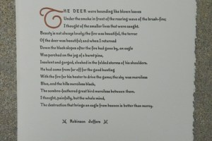 Robinson Jeffers broadside printed by Linomarl Marlan Beilke. Measures approximately 10 X 14.  Printed in three colors.