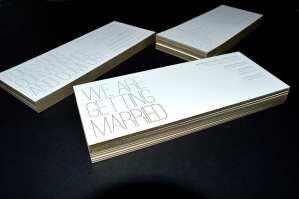 Letterpress printed and edge colors wedding invitation suite.