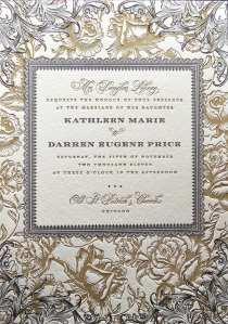 Letterpress printed wedding invitation.