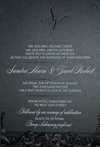 Wedding invitation in black and white foil.