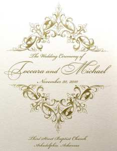 Thermography printed wedding program cover