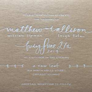 White foil stamped wedding invitation
