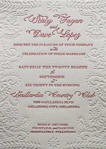 Letterpress printed invitation
