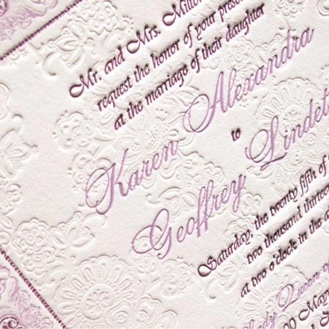 Letterpress Wedding Invite Samples