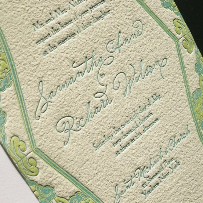 Waterlily Letterpress Wedding Invitations Suite