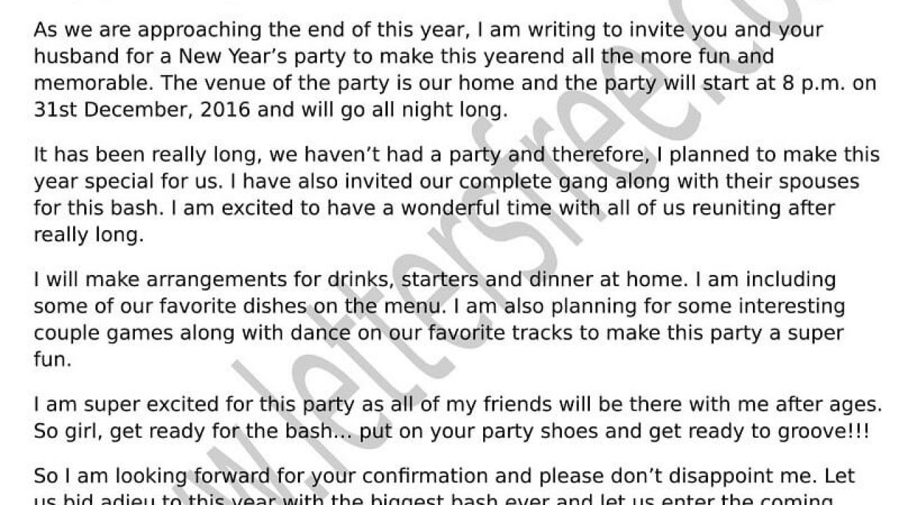 sample invitation letter for new year