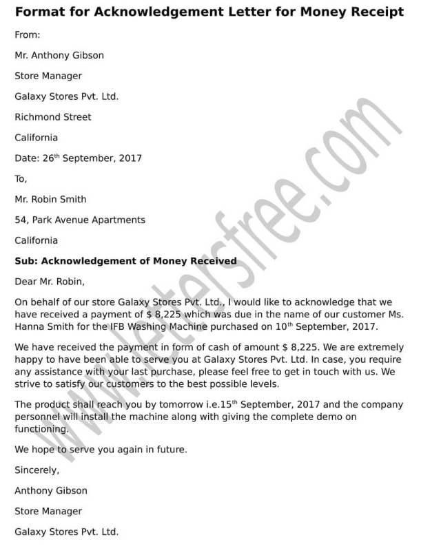 Format For Acknowledgement Letter
