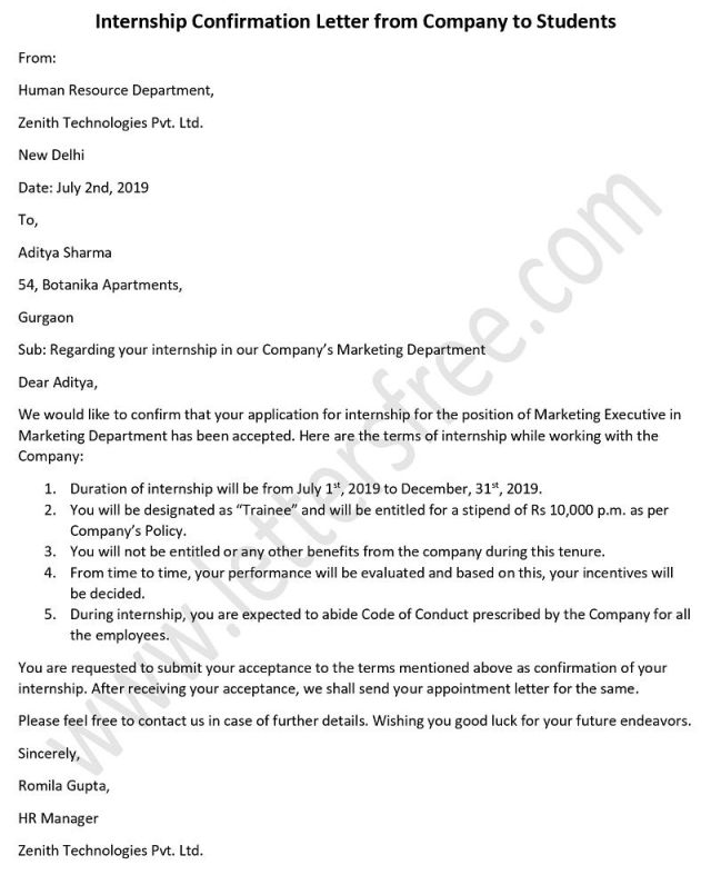 Sample Internship Confirmation Letter from Company to Students
