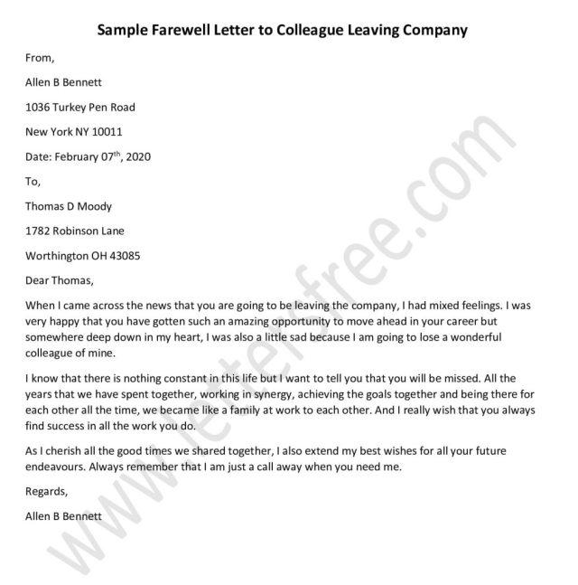 9+ Goodbye Letter Examples - Farewell Letter Format Sample