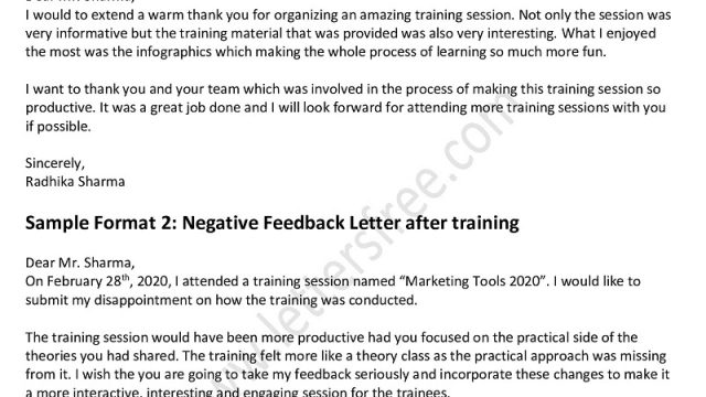 Feedback Letter After Training Session- Positive/ Negative Feedback