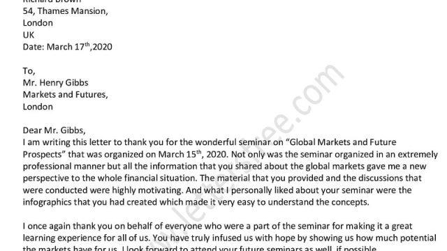 Feedback Letter for Seminar - Sample Feedback Letter