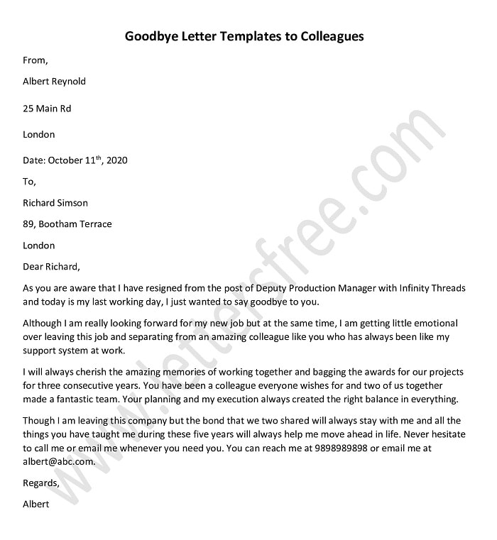 In addition to thanking your colleagues, your messages provide you with an opportunity to share your contact information so you can stay connected. Goodbye Letters To Colleagues Farewell Letter Template