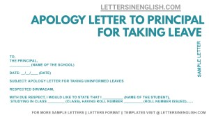 sample apology letter for taking leave without permission, apology letter for taking leave without permission, apology letter to school principal for taking leave without permission format