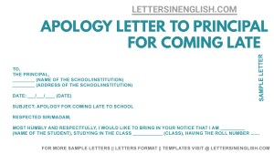 Apology Letter to Principal for Coming Late to School, Sample Apology Letter by student