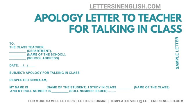 Apology Letter to Teacher for Talking in Class - Sample Apology