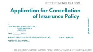 Application for Cancellation of Insurance Policy, Request for Cancellation of Insurance Policy