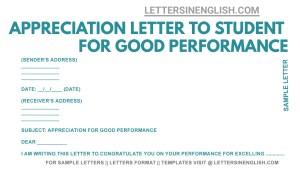 sample letter to school student appreciating for good performance, sample letter of appreciation for excellent performance, student appreciation letter sample