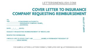 Application for Health Insurance Reimbursement, Cover Letter to Insurance Company Requesting Reimbursement