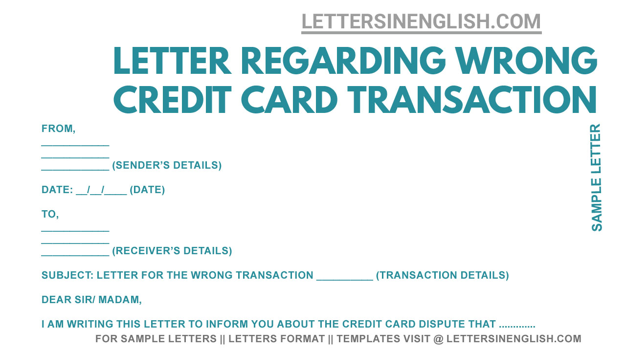 Dispute Letter for Credit Card - Letter to Bank for Regarding