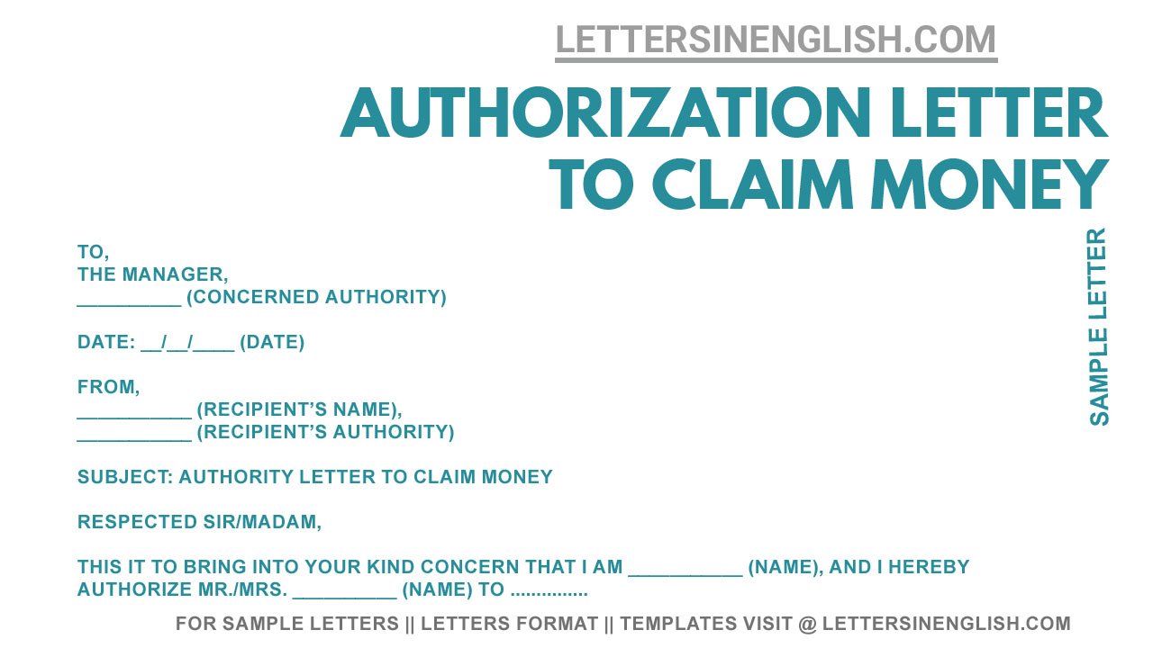 Sample Authorization Letter to Claim Money - Write an
