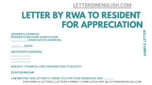 sample Letter by RWA to Local Resident for Appreciation, Sample Thank you for Your contribution in Society