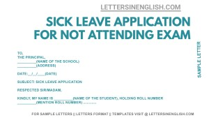 Sample Application For Not Giving Exam Due to Illness, sample sick leave for not giving exam