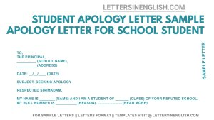 sample application seeking an apology from Principal, apology letter for student, student apology letter sample